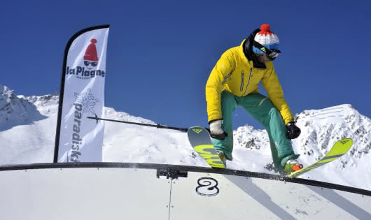 Rainbow rail snowpark la Plagne