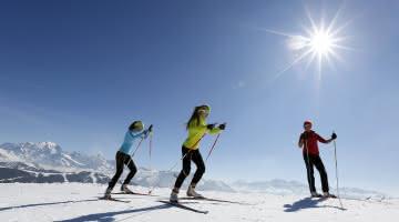 ski de fond au soleil