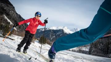 Ski de fond en famille avec vue sur le Grand Bec