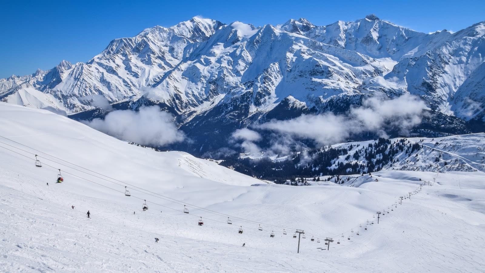 Le télésiège des Tierces et le Mont-Blanc