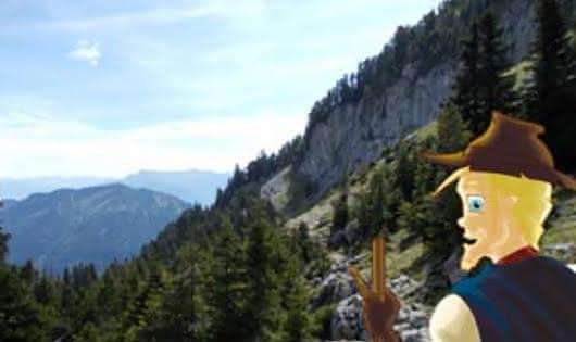 chemin avec vue sur les montagnes des Aravis
