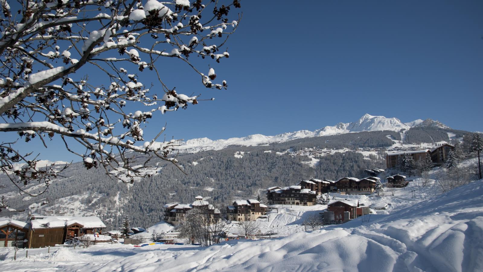 Vue enneigé du village de Montchavin