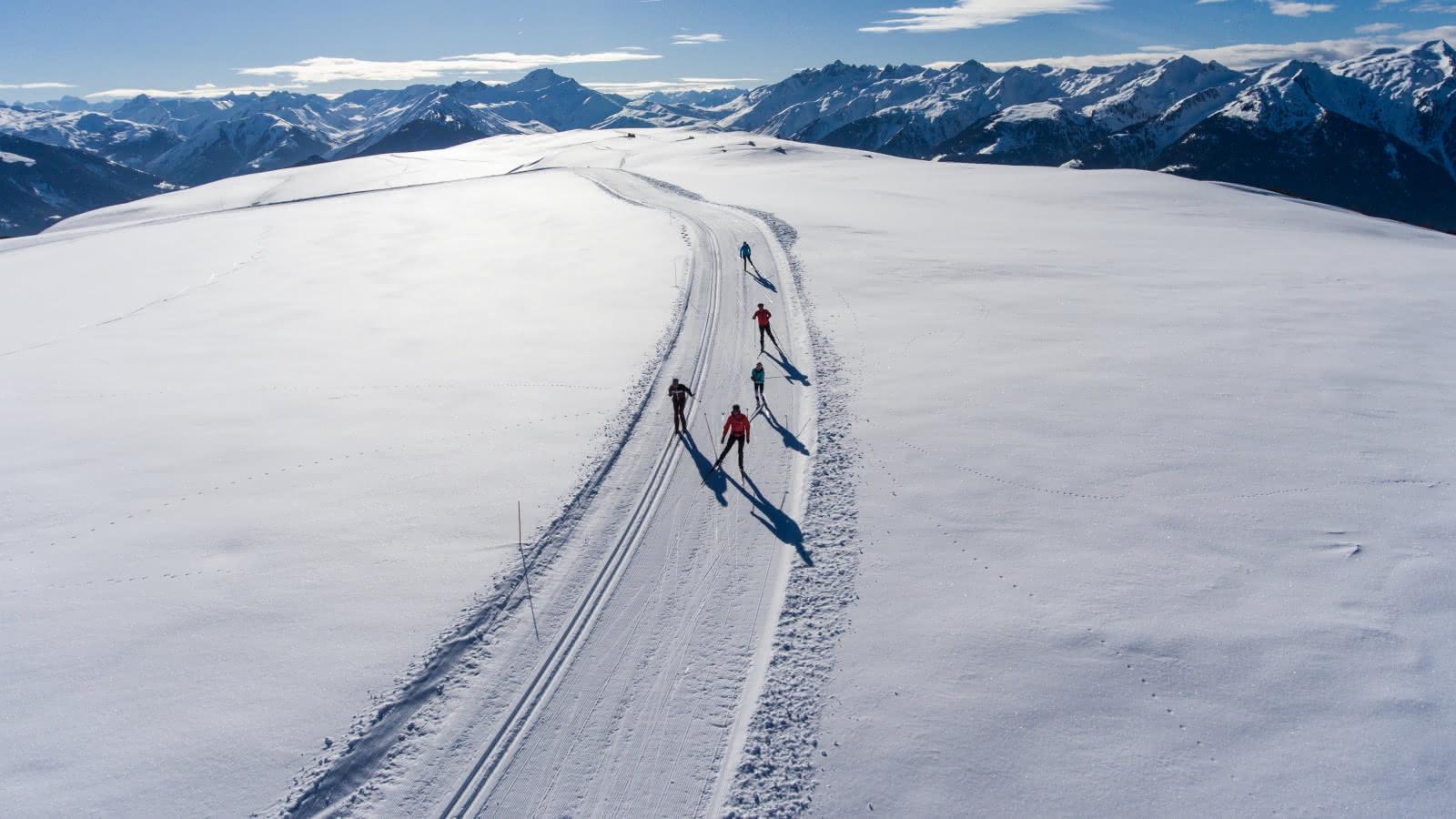 Fondeurs sur la piste de ski de fond du Carolet