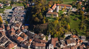 Aerial view of Faverges castle and the urban heritage