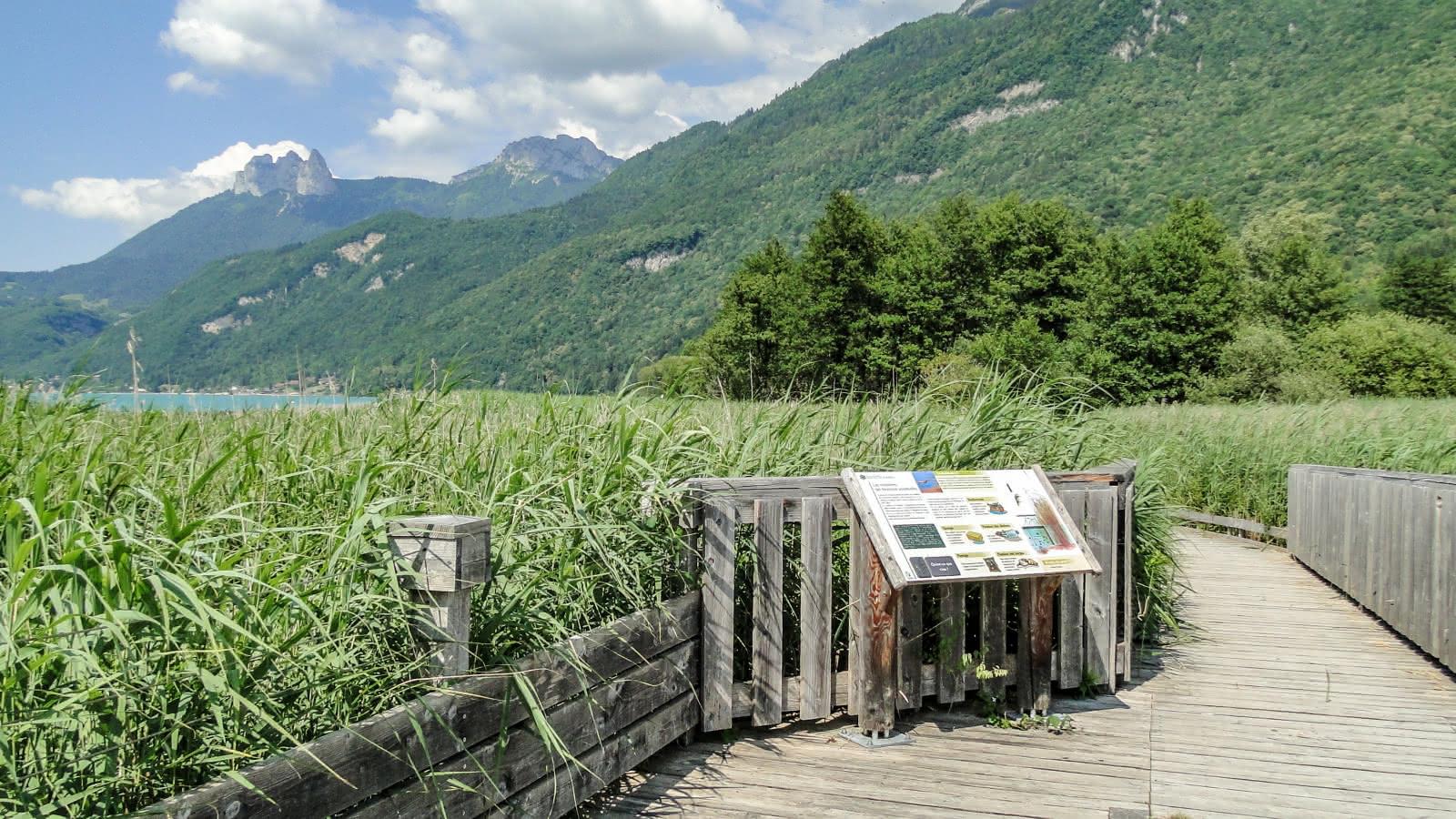 Panneau d'information réserve naturelle du Bout du Lac d'Annecy
