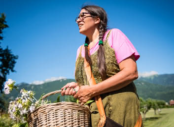 Sabrina Millot gathering plants near Doussard