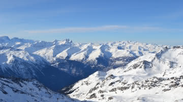 Vue du sommet du domaine skiable d'Orelle Val Thorens les 3 Vallées