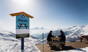 Pic nique au sommet des pistes de Saint François Longchamp