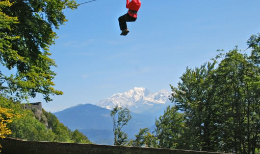 zipline with mountain view