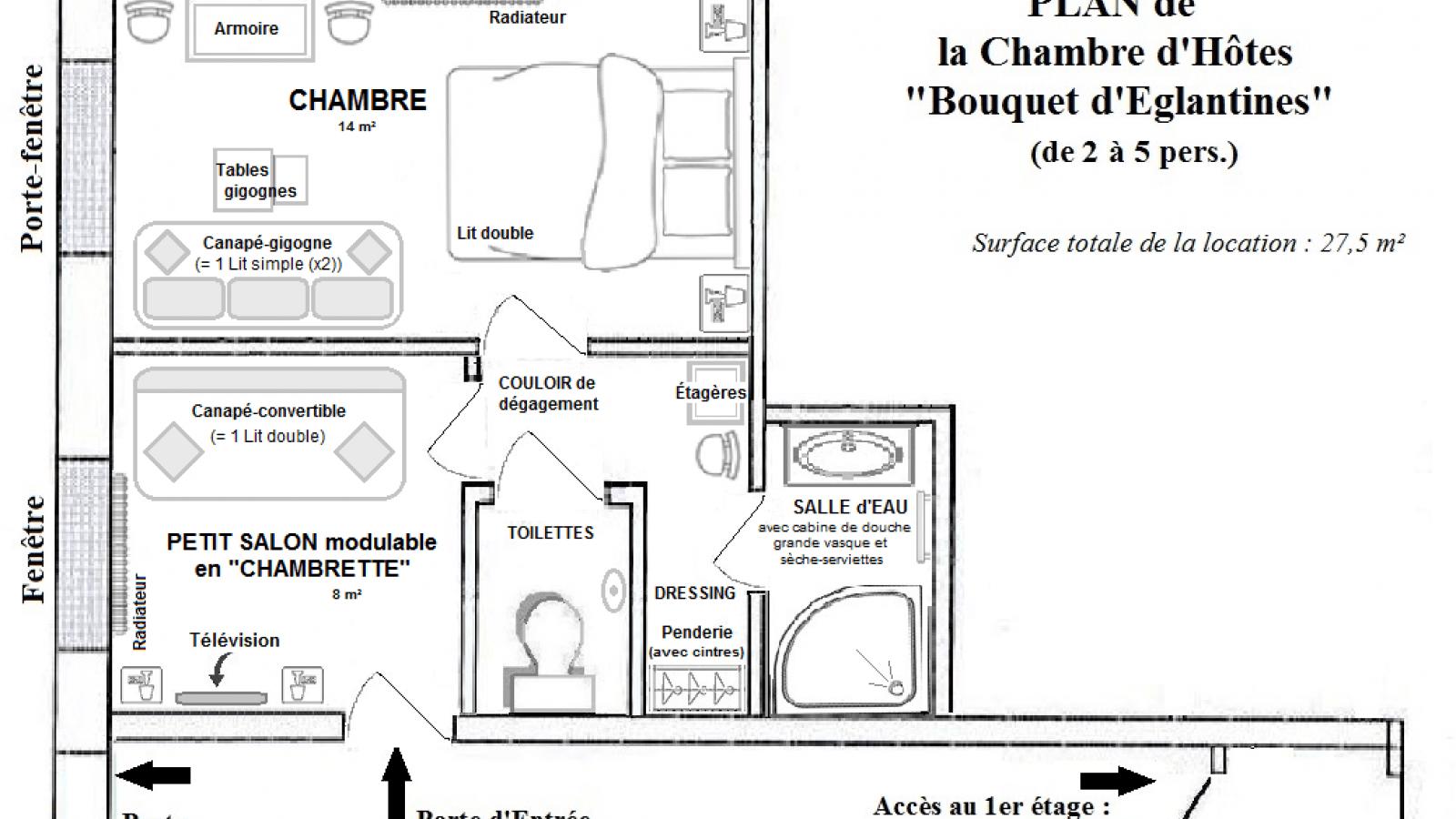 Plan 'Chambre Bouquet d'Eglantines'
