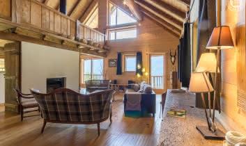Salon avec cheminée, ouvert au Sud avec vue sur le massif du Mirantin